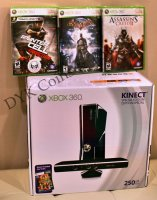 Xbox 360 Slim Console WiFi 250 GB Kinect System Bundle + 4 Games
