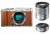 Fujifilm X-M1 XC 16-50mm + XF 27mm twin Lens kit Brown Camera